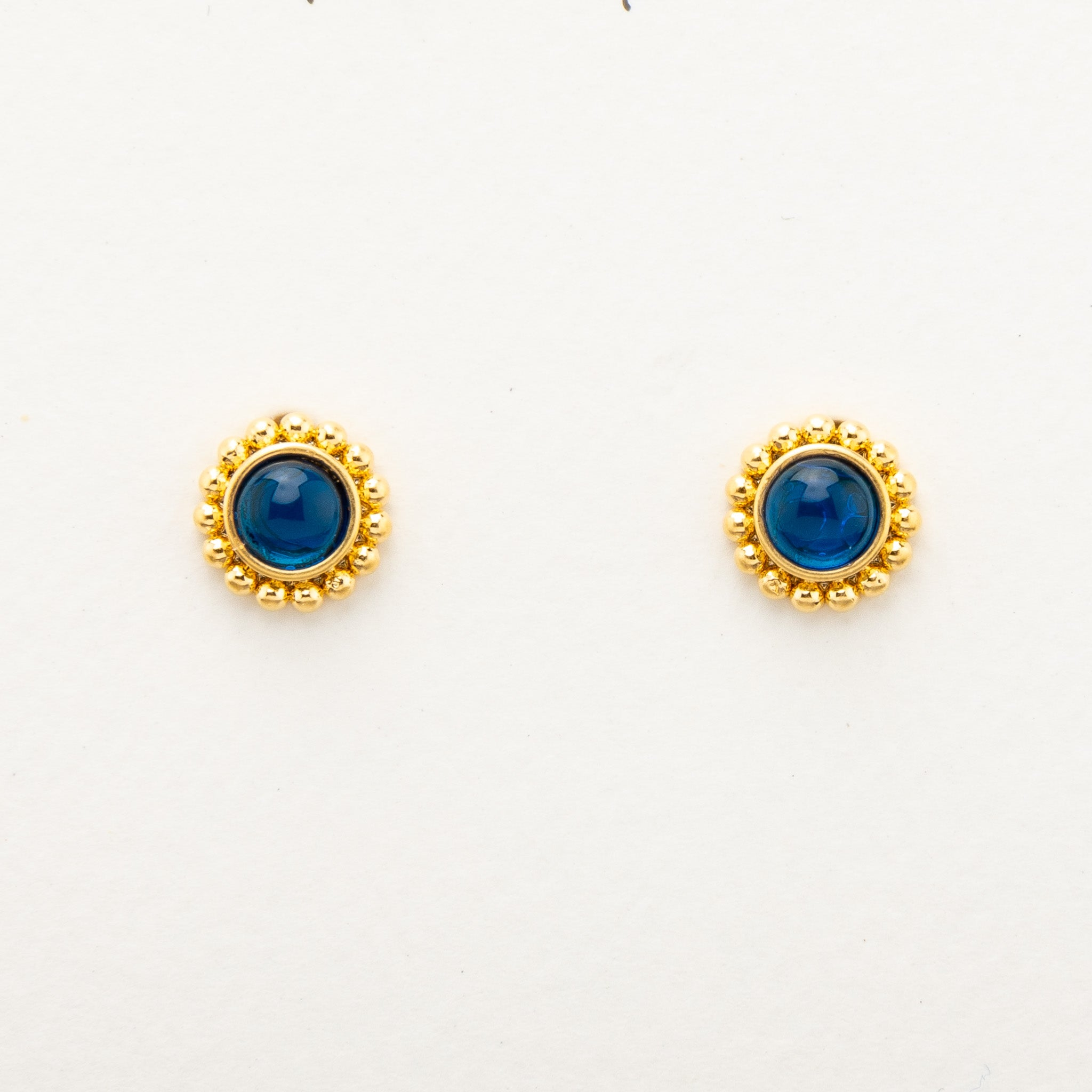 Blue Stud Earrings - gold
