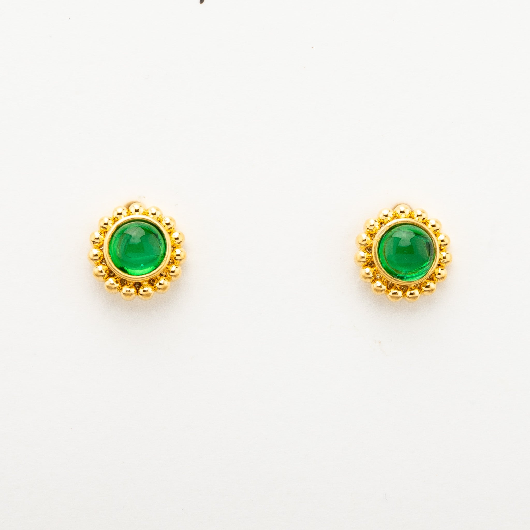 Green Stud Earrings - gold