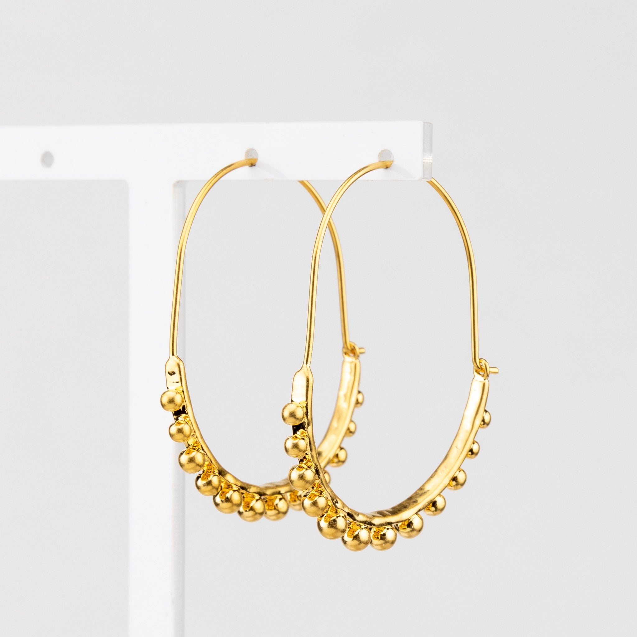 Ballbearing Hoop Earrings - gold