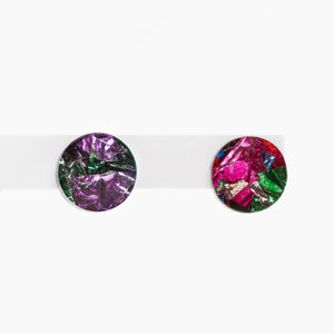 Mini Circle Stud Earrings - Confetti