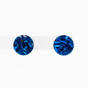 Mini Circle Stud Earrings - Navy