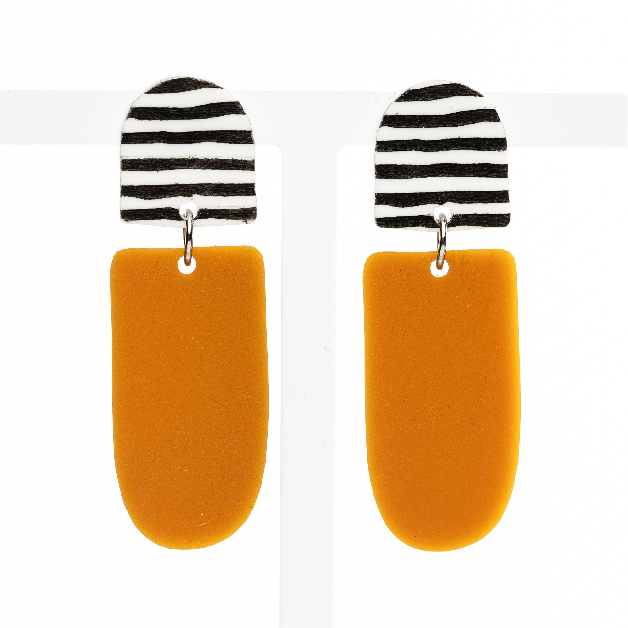Gabi Earrings - Stripe / Mustard