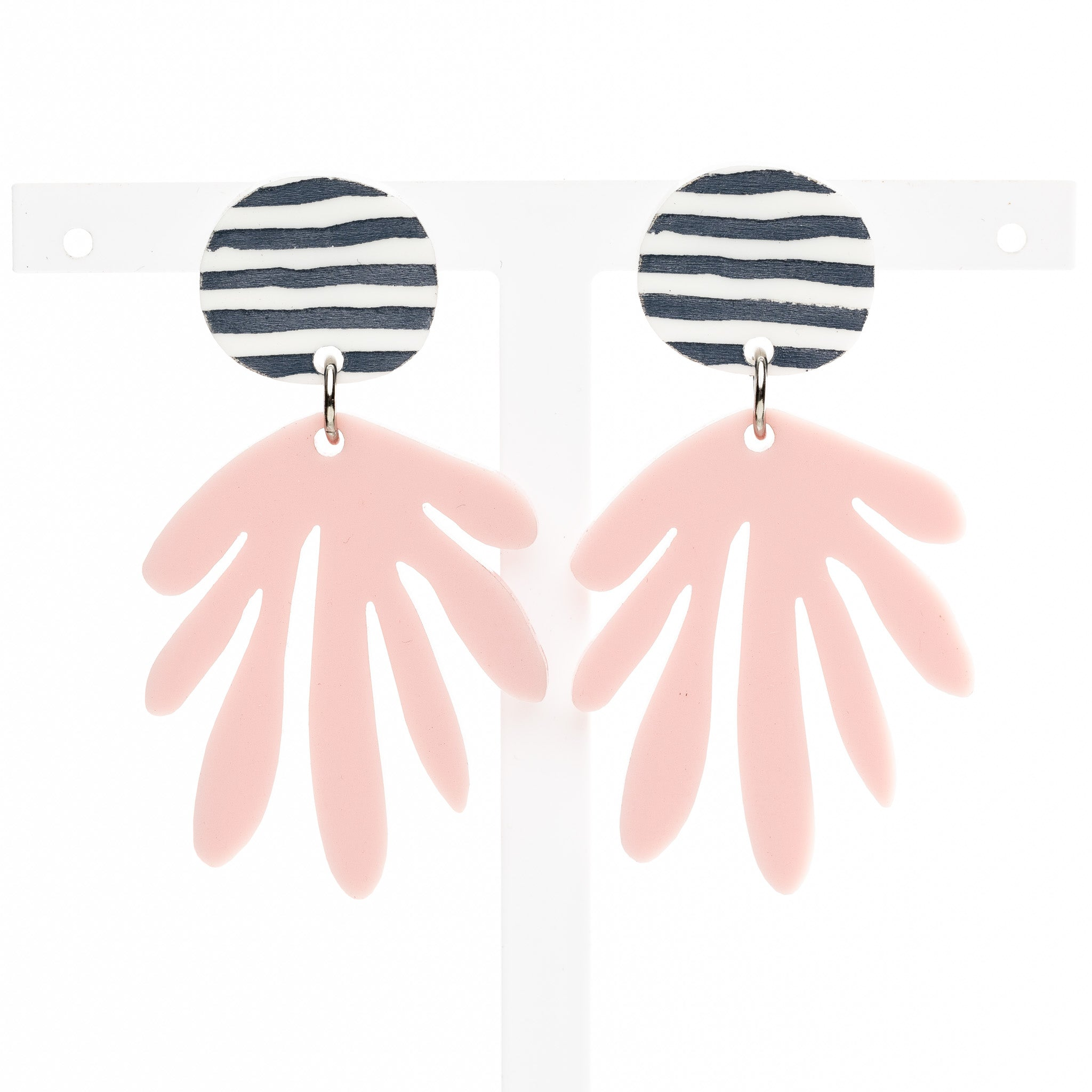 Deanne Earrings - Stripe / Pink