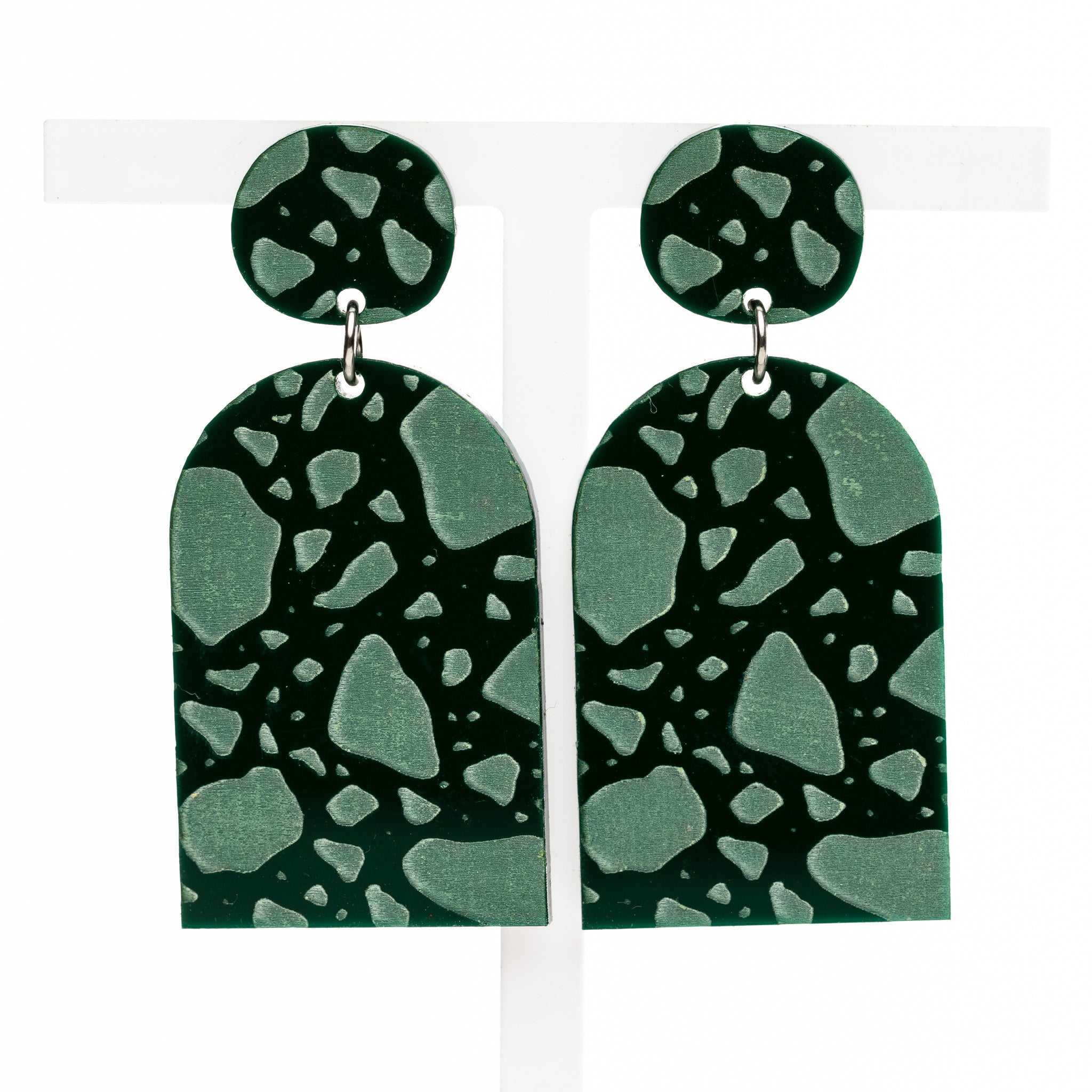 Shelley Earrings - Forest Green Razzo