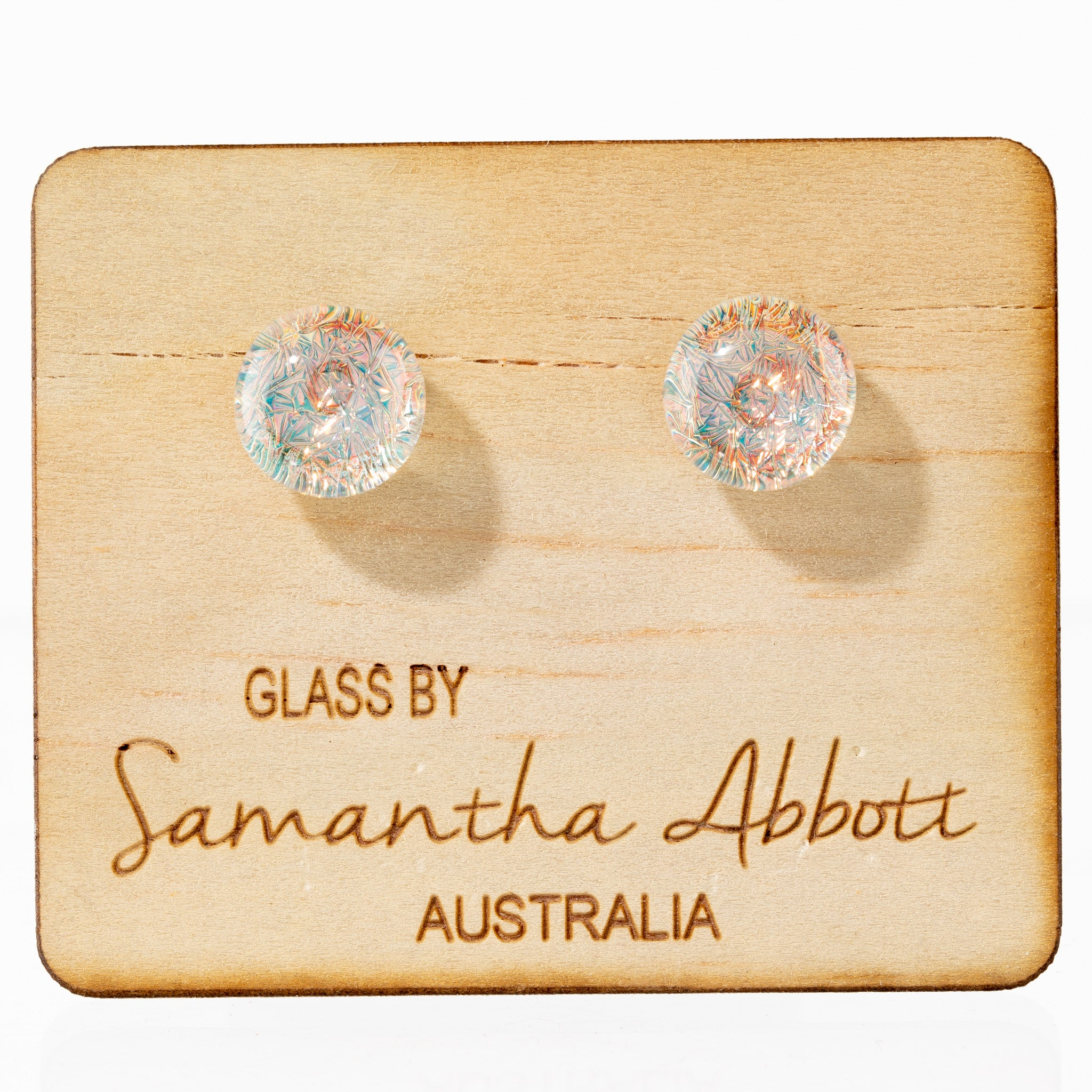Glass Stud Earrings - Apricot Sparkle