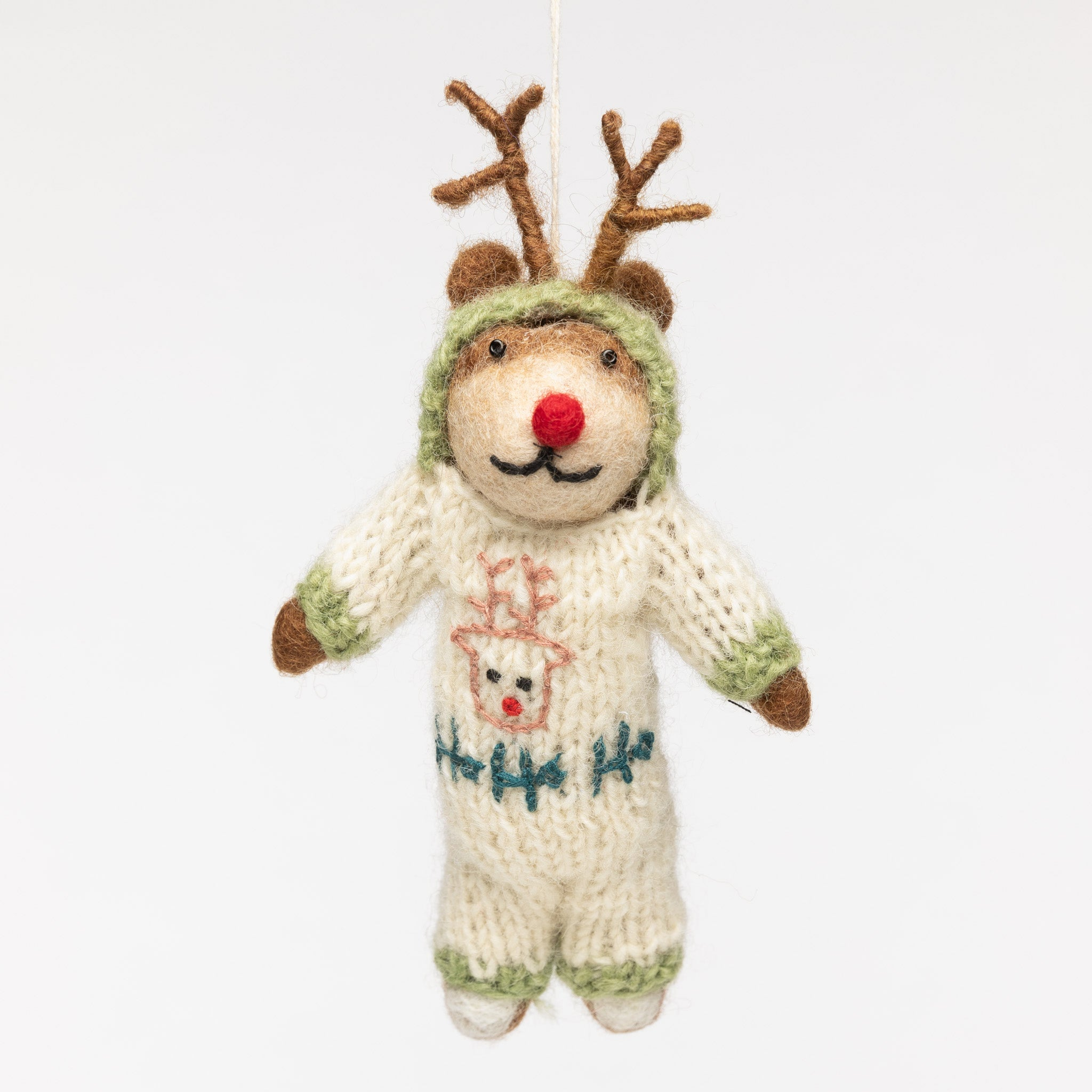 Felt Christmas Ornament - Reindeer in a Knitted Onsie