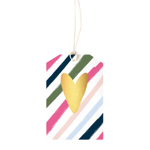 Gift Tag - Stripe Gold Heart