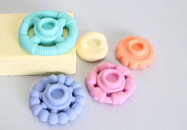 Rainbow Stacker and Teether Toy - pastel