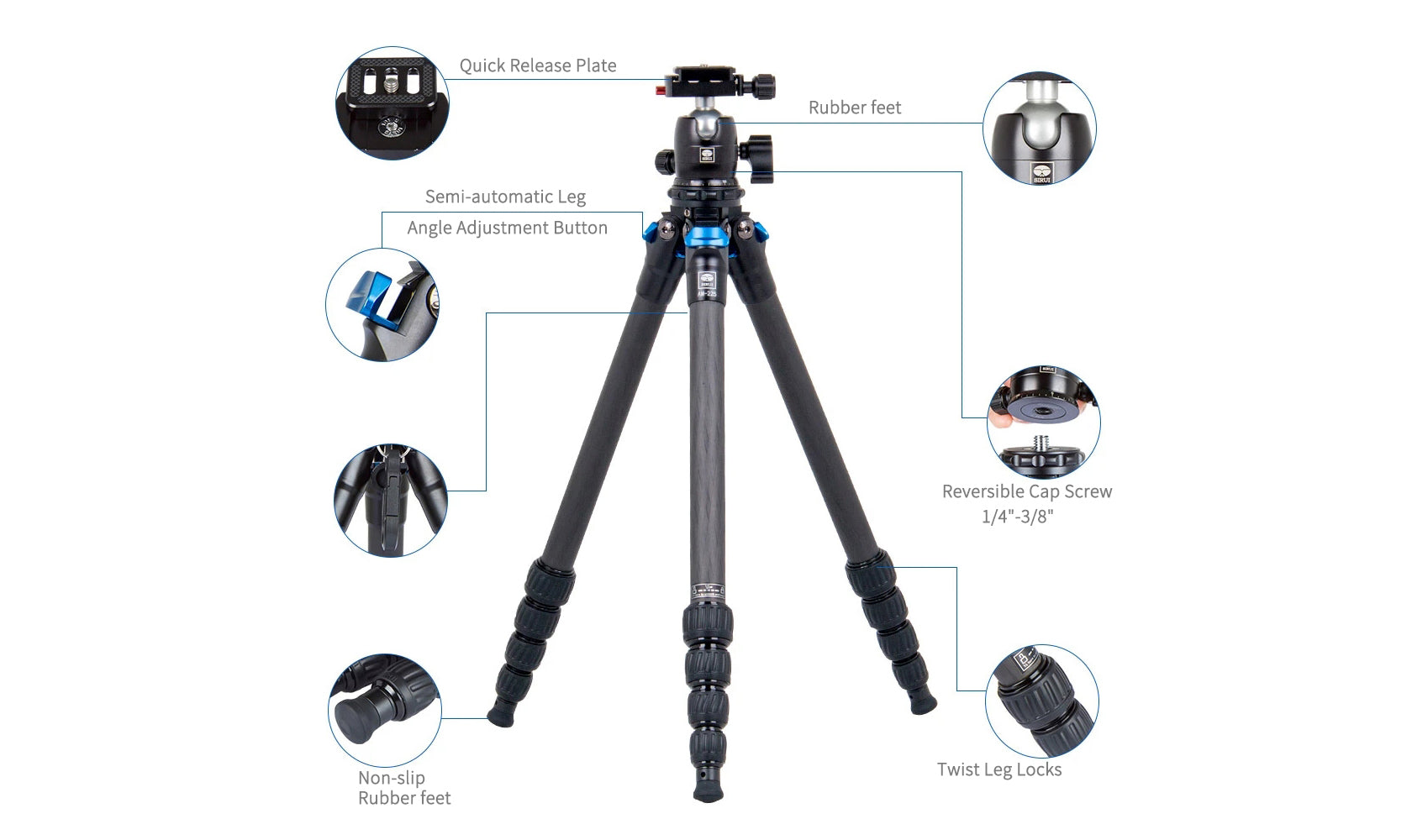 SIRUI AM2-Series AM-225 ProfiLegs Carbon Fiber Small Tripod with B-00K Ball Head (Black)