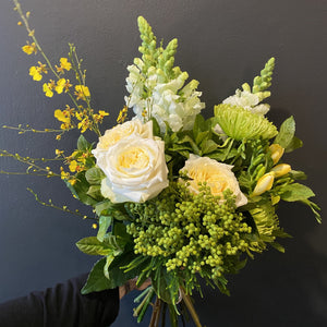 This medium sized bouquet was made in early August. Our florists only work with the best and freshest blooms, so we like to let everyone know that the bouquets will not always be exactly the same as the pictures..
