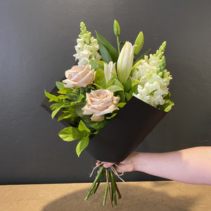Tall and elegant, this bouquet centres around the beautiful lily. This design is built to last and we are sure you will enjoy the stunning and beautifully scented bunch. Some flowers may be upgraded to ensure only the best blooms are delivered to you.