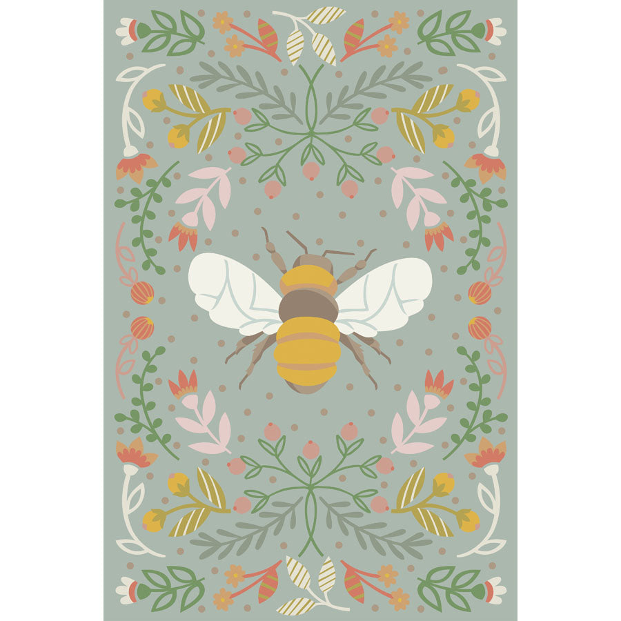 Bee Poster in blue