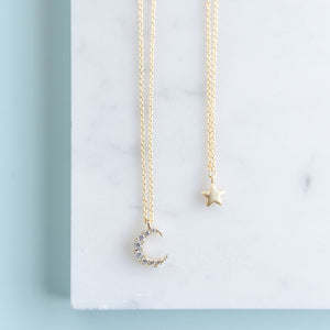Momma & Me Moon and Star Necklace Set