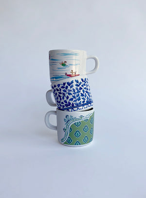 Load image into Gallery viewer, Blue and White Mama & Me Cup Set