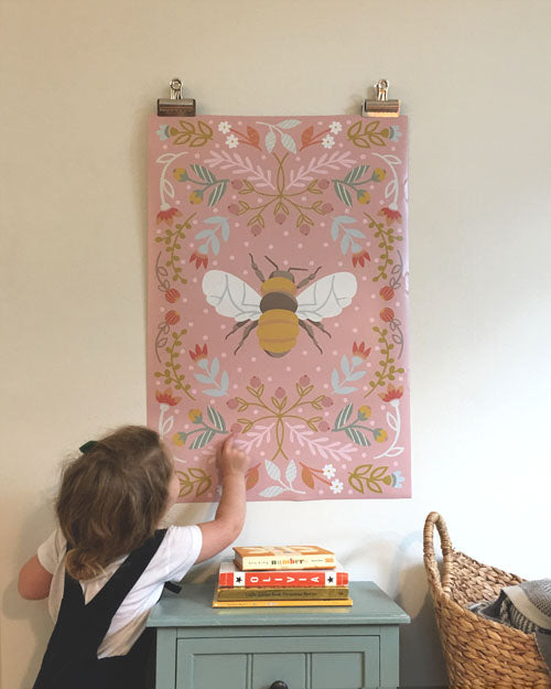 Bee Poster in pink