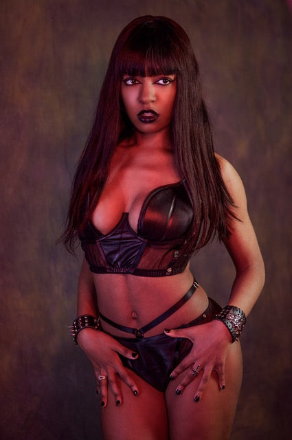 BDSM edgy leather underwear half cup wired bra with flattering panels and adjustable back straps