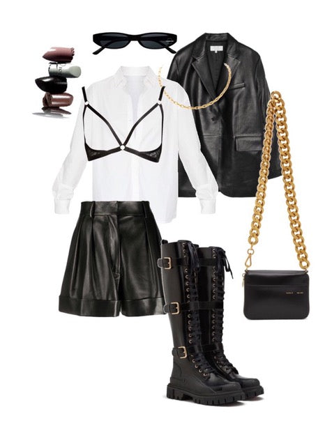 Lace harness bra over layered a white shirt outfit idea