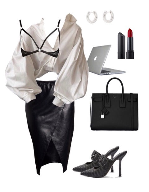 office outfit ideas with lace harness bra