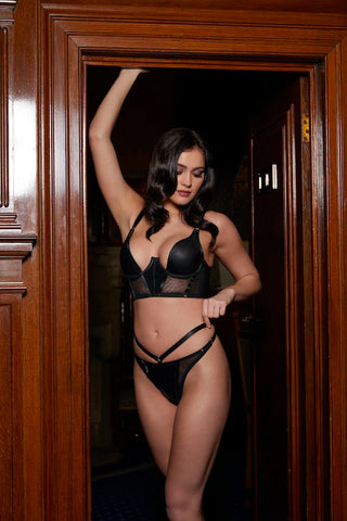 leather half cup bra and leather thong