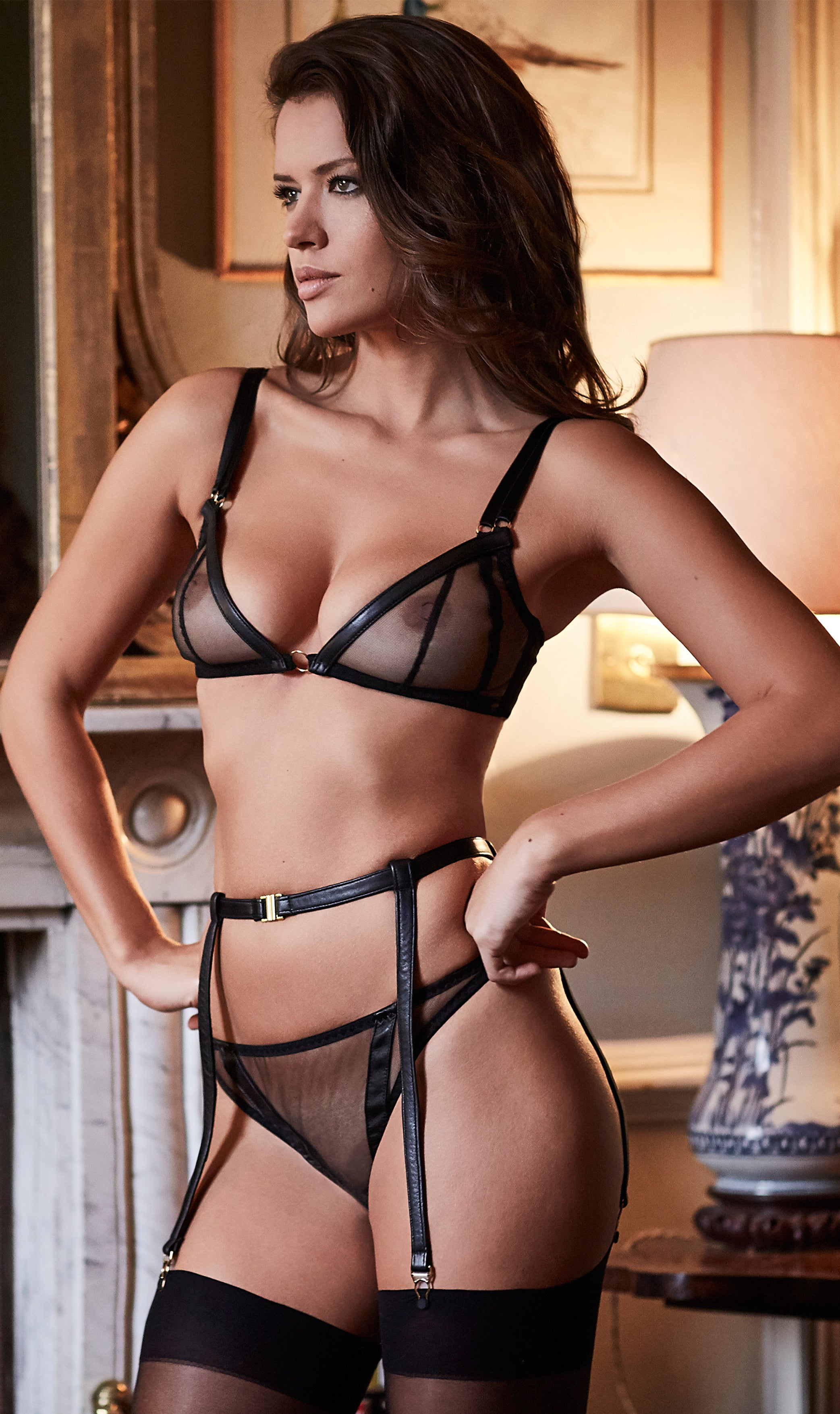 sheer non wired bra with see through thong and leather suspender with leather BDSM accessories