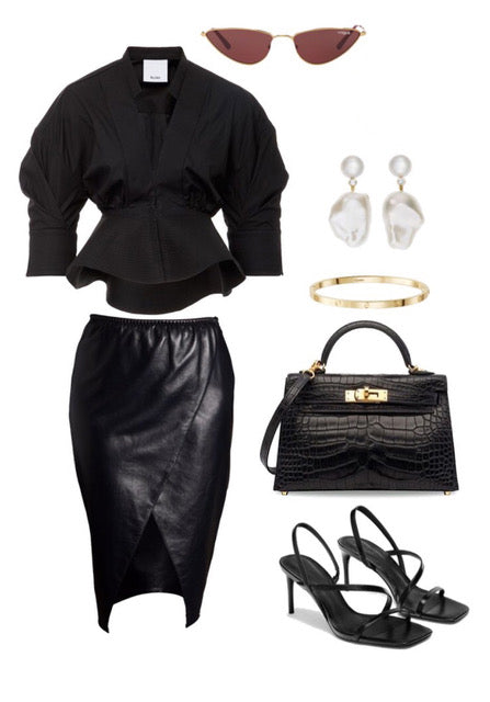 outfit inspiration for a black real leather pencil skirt outfit to wear after lockdown