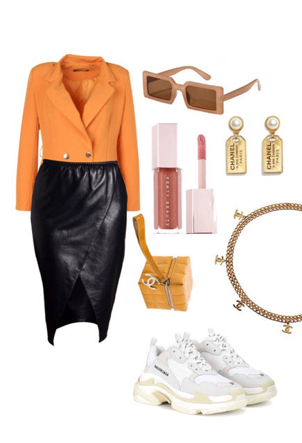 real leather pencil skirt with flattering front panels to flatter all shapes and figures