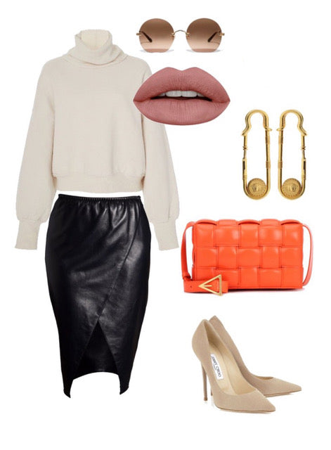 Leather pencil skirt outift inspiration