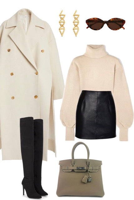 real leather mini skirt winter spring fashion outfit inspo