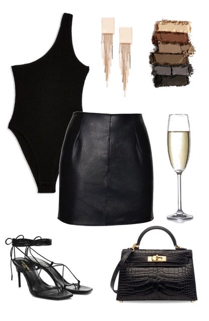 glammed up leather mini skirt outfit ideas