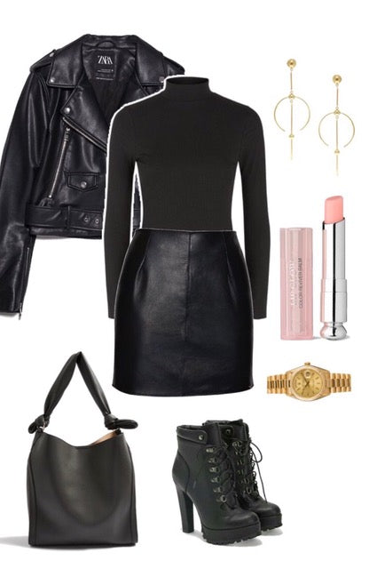 real leather mini skirt and leather jacket winter outfit ideas