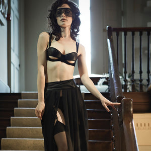 Load image into Gallery viewer, Ava Leather & Suede Half Cup Bra