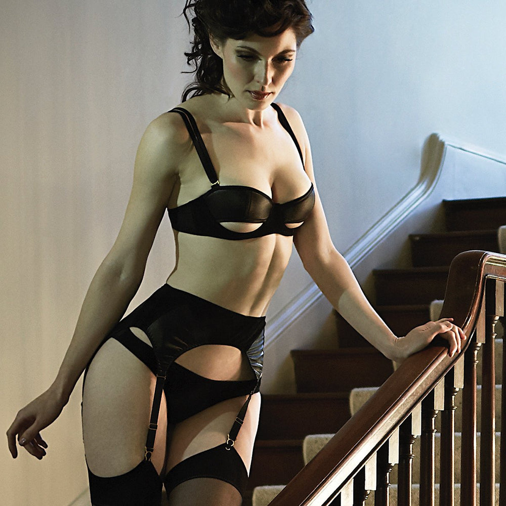 Load image into Gallery viewer, Ava Leather & Suede Suspender Belt