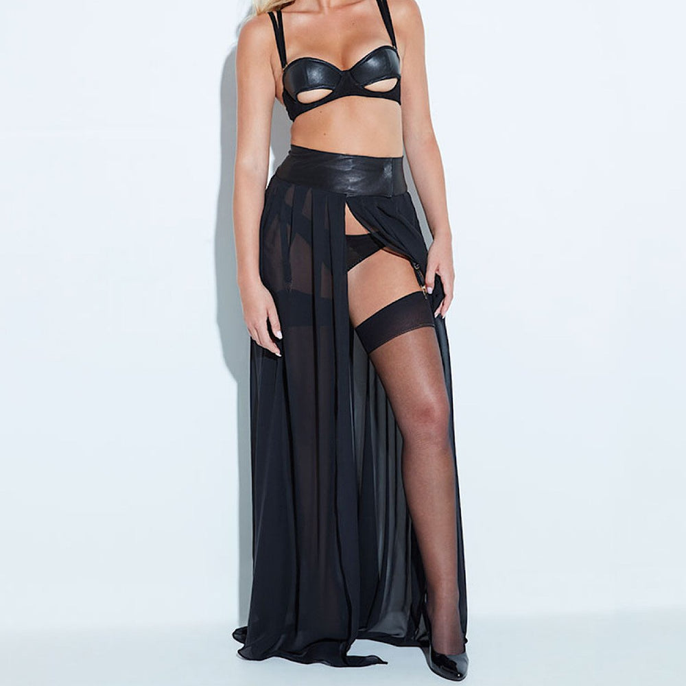 Stunning black silk long flowing skirt with soft leather waistband