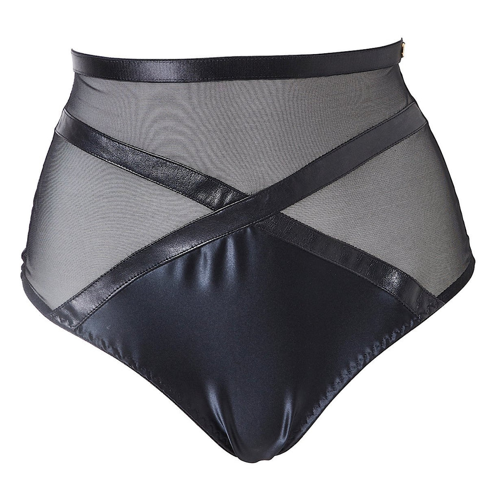 Jade high waist leather and satin style panties with a thong back