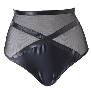 Load image into Gallery viewer, Jade high waist leather and satin style panties with a thong back