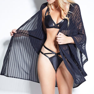 Load image into Gallery viewer, Jade Striped Mesh Kimono