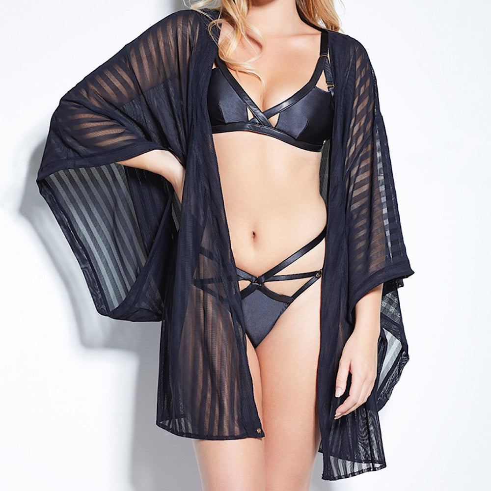 Mesh see-through sheer kimono in black