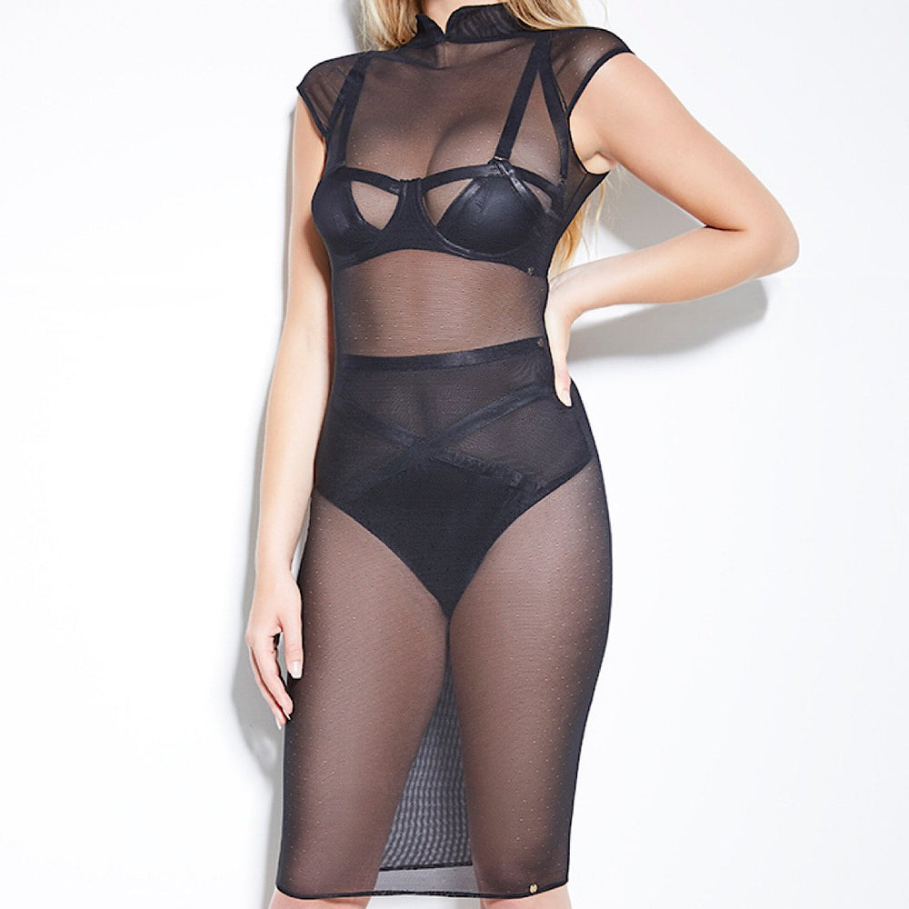 Quality see through sheer stretchy dress made with mesh