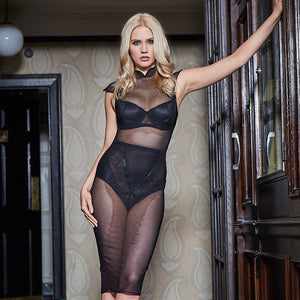 Load image into Gallery viewer, Jade See-Through Mesh Dress