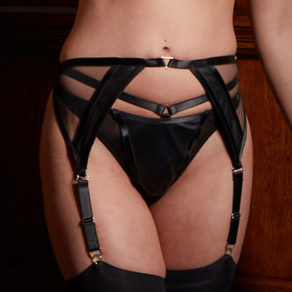 A designer black leather and mesh suspender belt