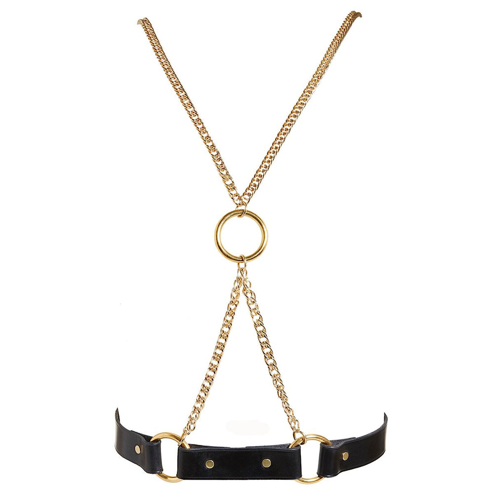 High end edgy body harness handmade from real leather with gleaming gold metal work