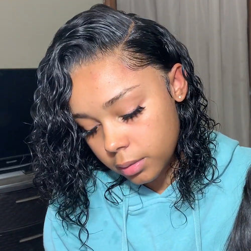 200% Density Brazilian Remy Hair Pre Plucked Curly Bob Pre Plucked Full Lace Wig with Baby Hair