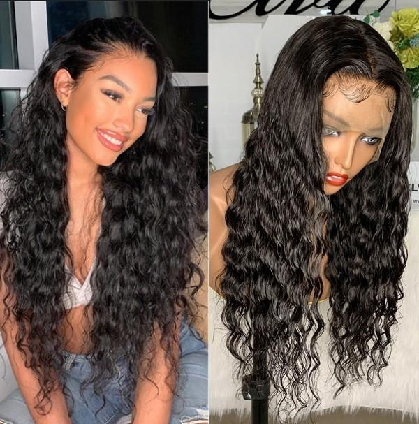 250% Density Brazilian Natural Wave 370 Lace Wigs Pre Plucked
