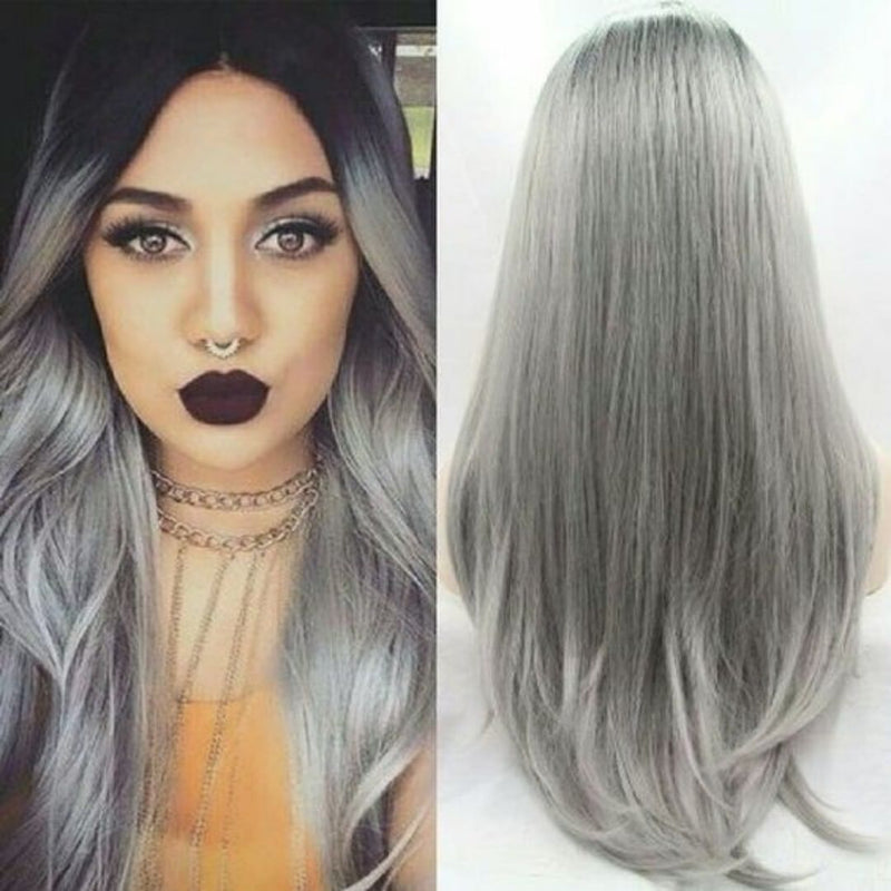 Black gradient silver gray mid-length long straight color wig