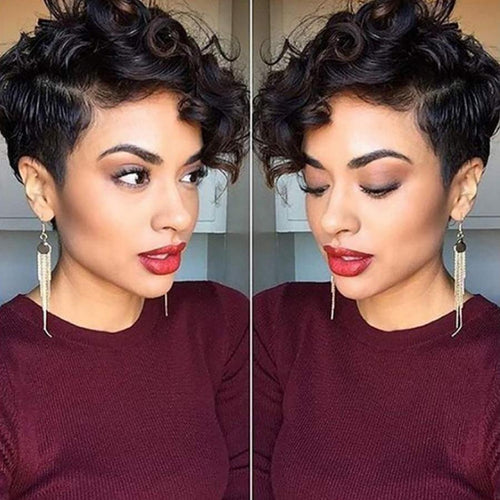 13x4 Short Human Hair Wigs Pixie Cut Short Curly Wig  Pre Plucked Bob Wig Remy Brazilian Glueless Lace Front Human Hair Wigs