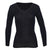 Thermo Fleece® – Long Sleeve Lace V Neck – 100% Merino Wool – Black