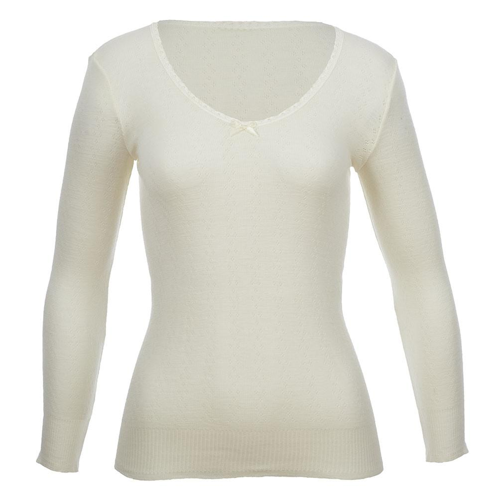 Thermo Fleece® – Long Sleeve Lace V Neck – 100% Merino Wool – White