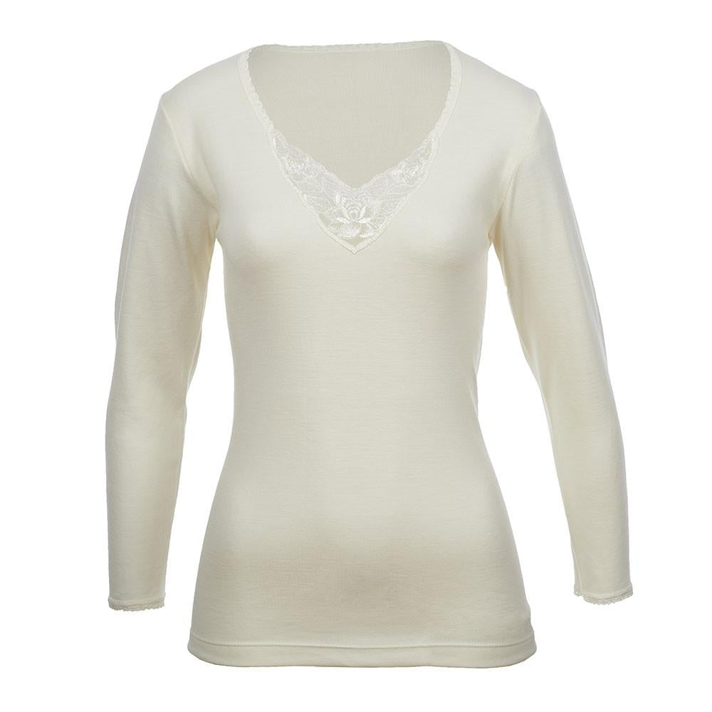Thermo Fleece® – Ladies Long Sleeve – Lace Motif – Rich Merino