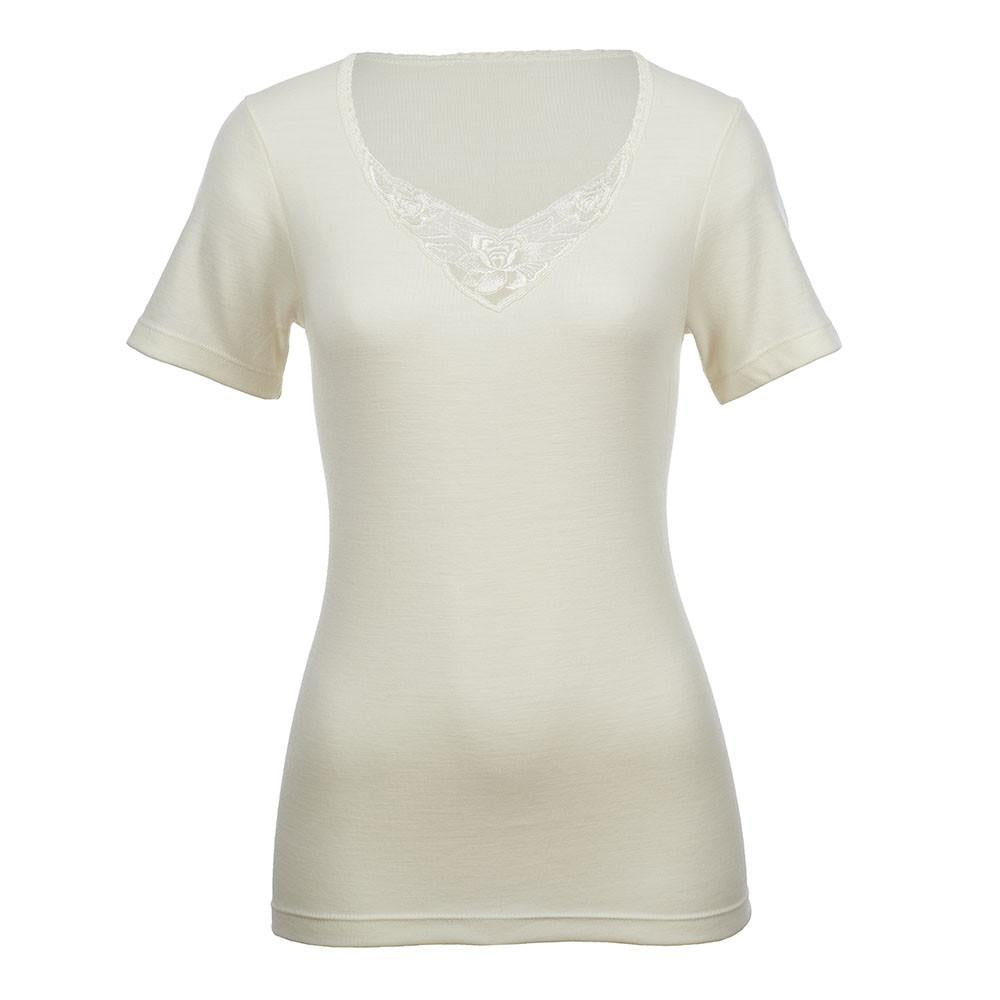 Thermo Fleece® – Ladies Short Sleeve – Lace Motif - 100% Merino