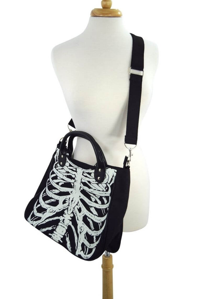 Glow in the dark gothic ribcage skeleton black canvas satchel bag